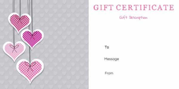 gift certificate template with hearts