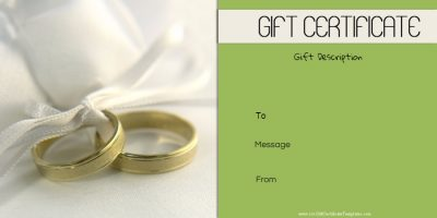 Anniversary gift certificate with a picture of two rings