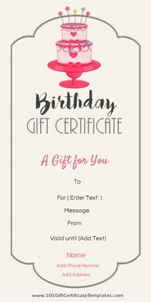 Birthday Gift Certificate Template  Money Voucher Template