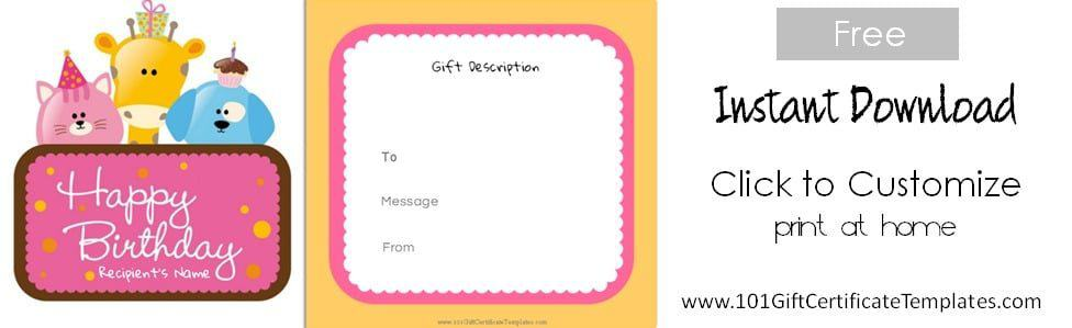 Free birthday gift certificate template for Birthday gift list template