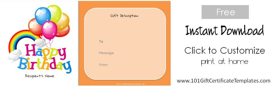 ... Free Printable Birthday Gift Certificate Template  Printable Gift Certificates Templates Free