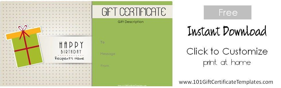 free printable gift certificate templates happy birthday