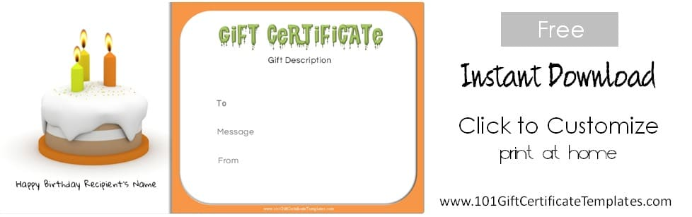 Free birthday gift certificate template for Free customizable gift certificate template
