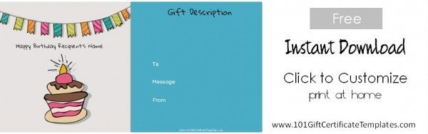 birthday gift certificate template free printable
