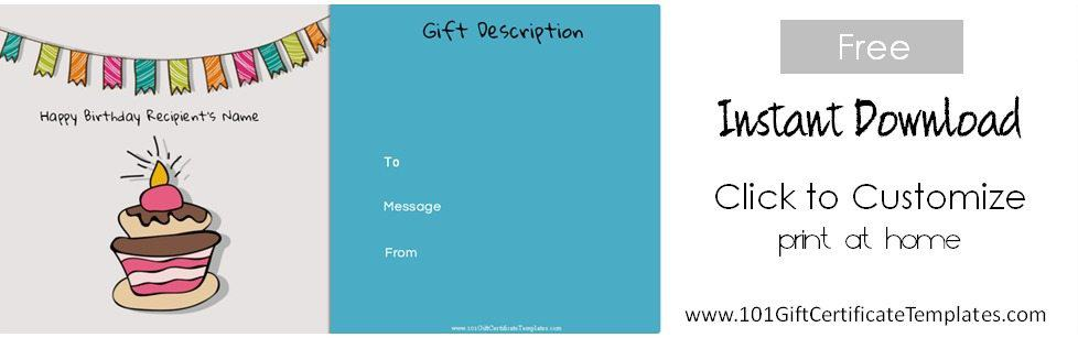 ... Birthday Gift Certificate Template Free Printable ...  Personalized Gift Certificates Template Free