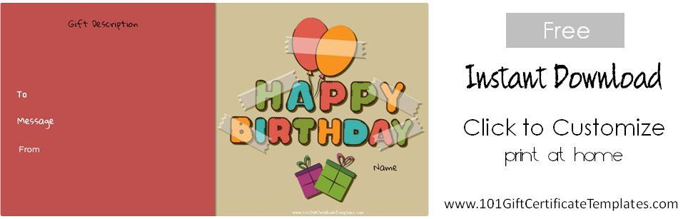 template free printable happy birthday gift certificate