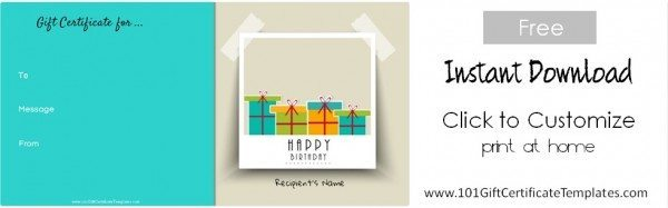Happy birthday gift template