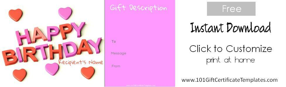 Free Happy Birthday Printable Happy Birthday Gift Voucher ...