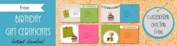 Birthday Gift Certificates
