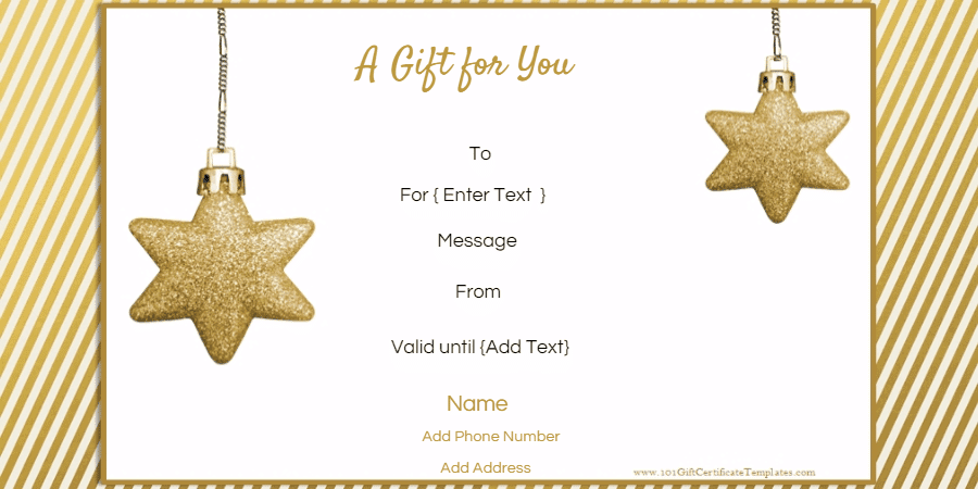 Beautiful Christmas Gift Certificate With Christmas Gift Card Template