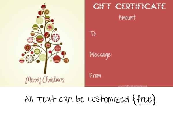 Christmas Voucher Template Xmas Gift Certificate Template Simple