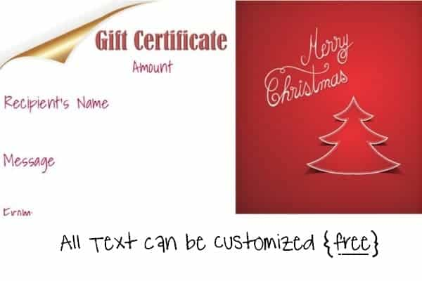 free printable christmas gift certificate template in red and white - Printable Christmas Gift Certificates Templates Free
