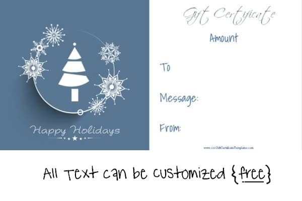 Happy Holidays Free Christmas gift certificate template
