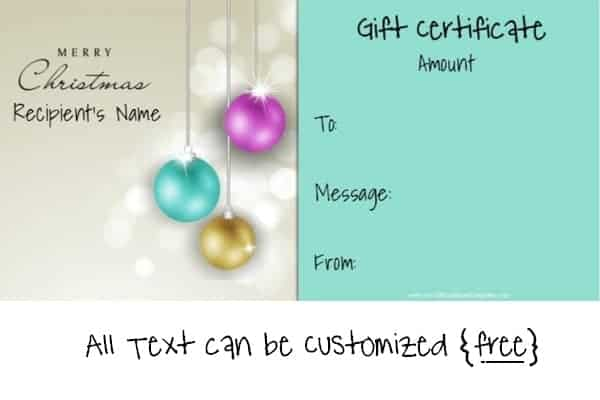 Good Free Printable Christmas Gift Certificate Template