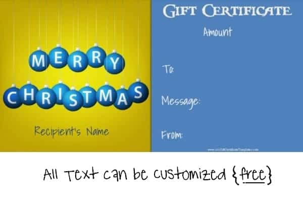 christmas gift certificate template in blue and yellow