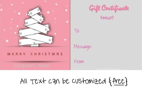 Merry Christmas Greeting Card. CUSTOMIZE U0026 PRINT. Christmas Gift  Certificate Template In Blue ...  Free Christmas Gift Certificate Templates