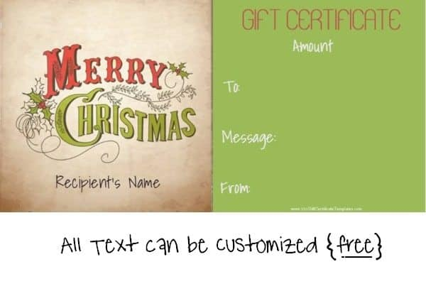 Christmas gift certificate template in green and red