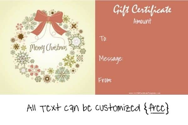Delightful Printable Christmas Gift Certificate Template For Christmas Gift Card Template