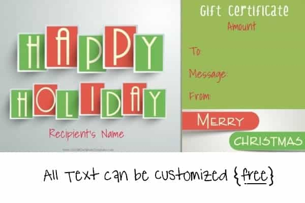 Happy holidays and Merry Christmas gift certificate