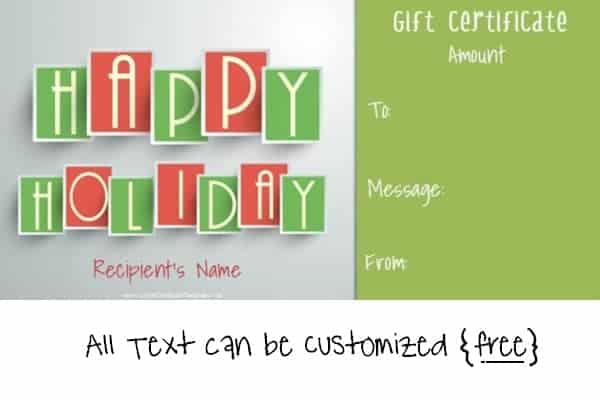 Happy Holidays gift certificate template