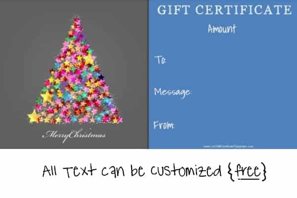 Printable gift certificate for holiday season