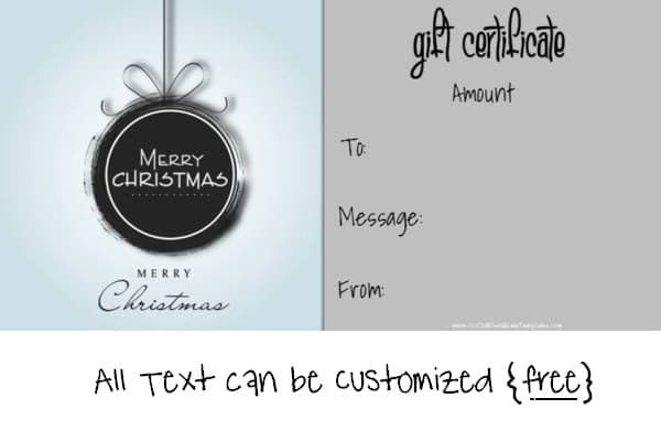 Charming Free Printable Christmas Gift Certificate Template In Black And White