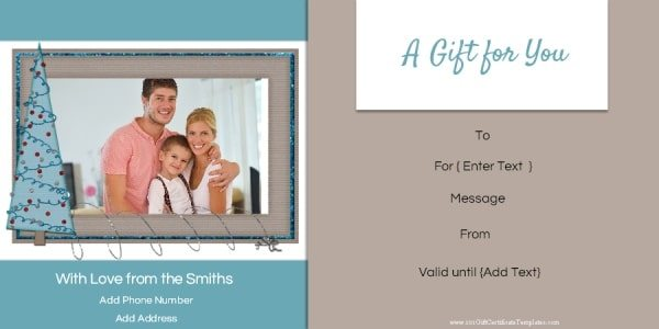 photo gift certificate template for Christmas