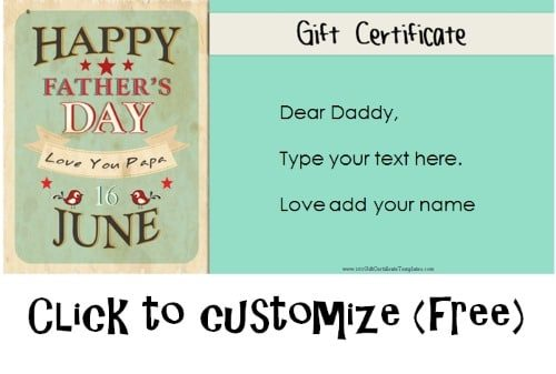 Free Printable Father S Day Gift Cards Customize Online