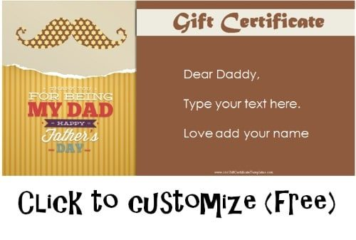 Free Printable Fathers Day Gift Cards Customize Online