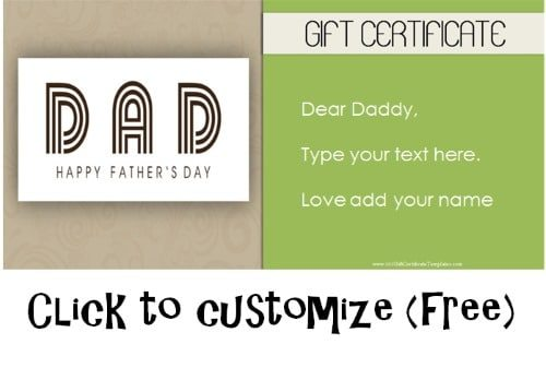 customizable printable for dad