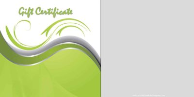 certificate template with a green wavy background in green and silver