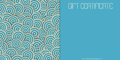 gift voucher with a blue background and a round geometric design