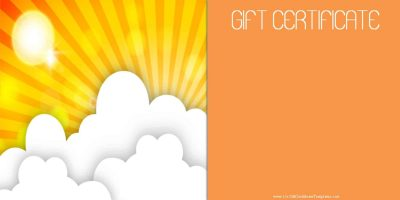 gift certificate template with a picture of a sunrise in shades of yellow and orange and white clouds