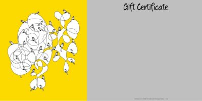 Gift certificate template in yellow and grey with pictures of birds sitting on an abstract drawing