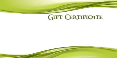 blank gift certificate which can be customized