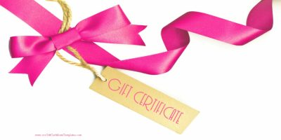 gift certificate with a white background and a pink ribbon with a light brown paper tag