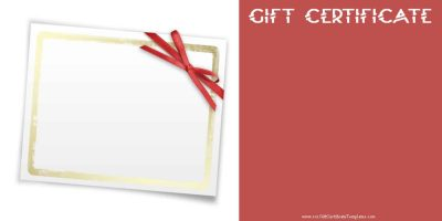 Gift Template With A White Card And A Gold Background And A Red Ribbon Tied  Around  Gift Certificat Template