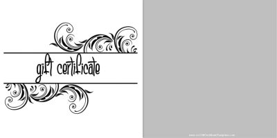 black and white gift voucher with a simple clean design