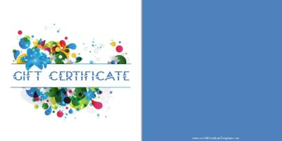 gift certificate with a blue background and colored flowers