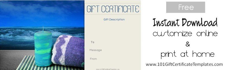 Spa Gift Certificates - Massage gift certificate templates