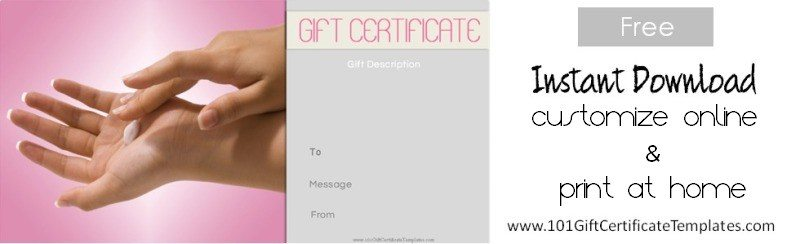 Spa gift certificates for Free beauty gift voucher template