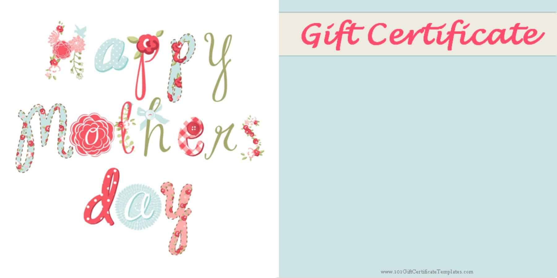 Mothers Day Gift Certificate Templates