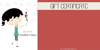 Gift certificate template for mother