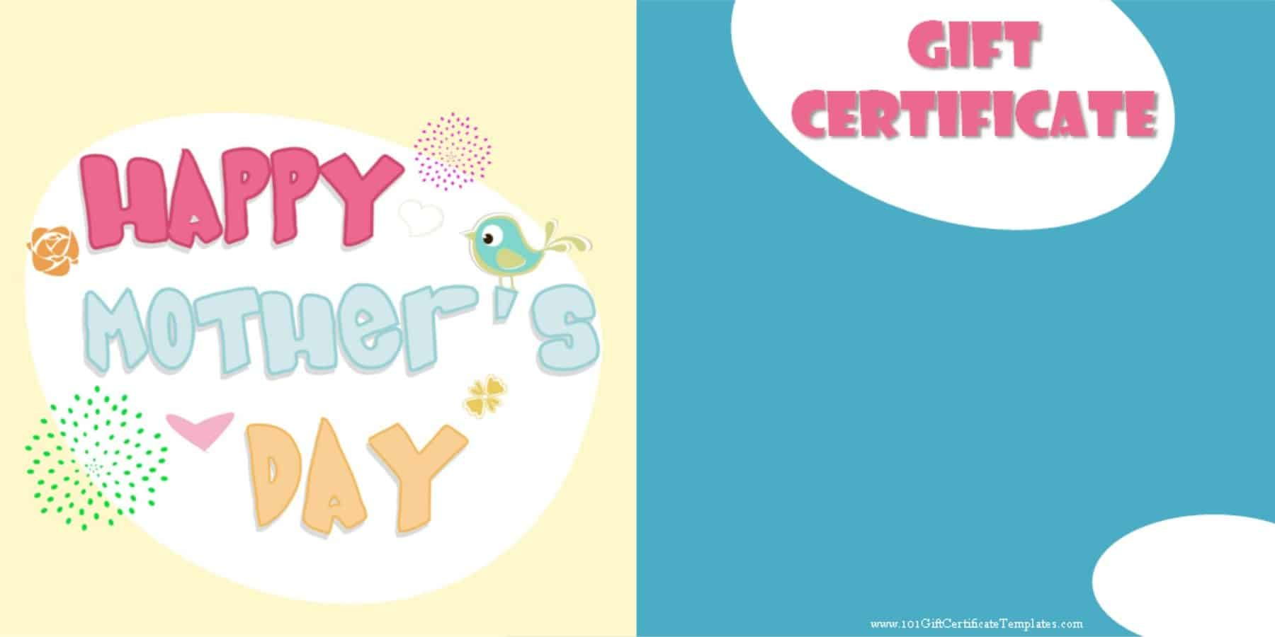 Mothers day gift certificate templates happy mothers day xflitez Gallery