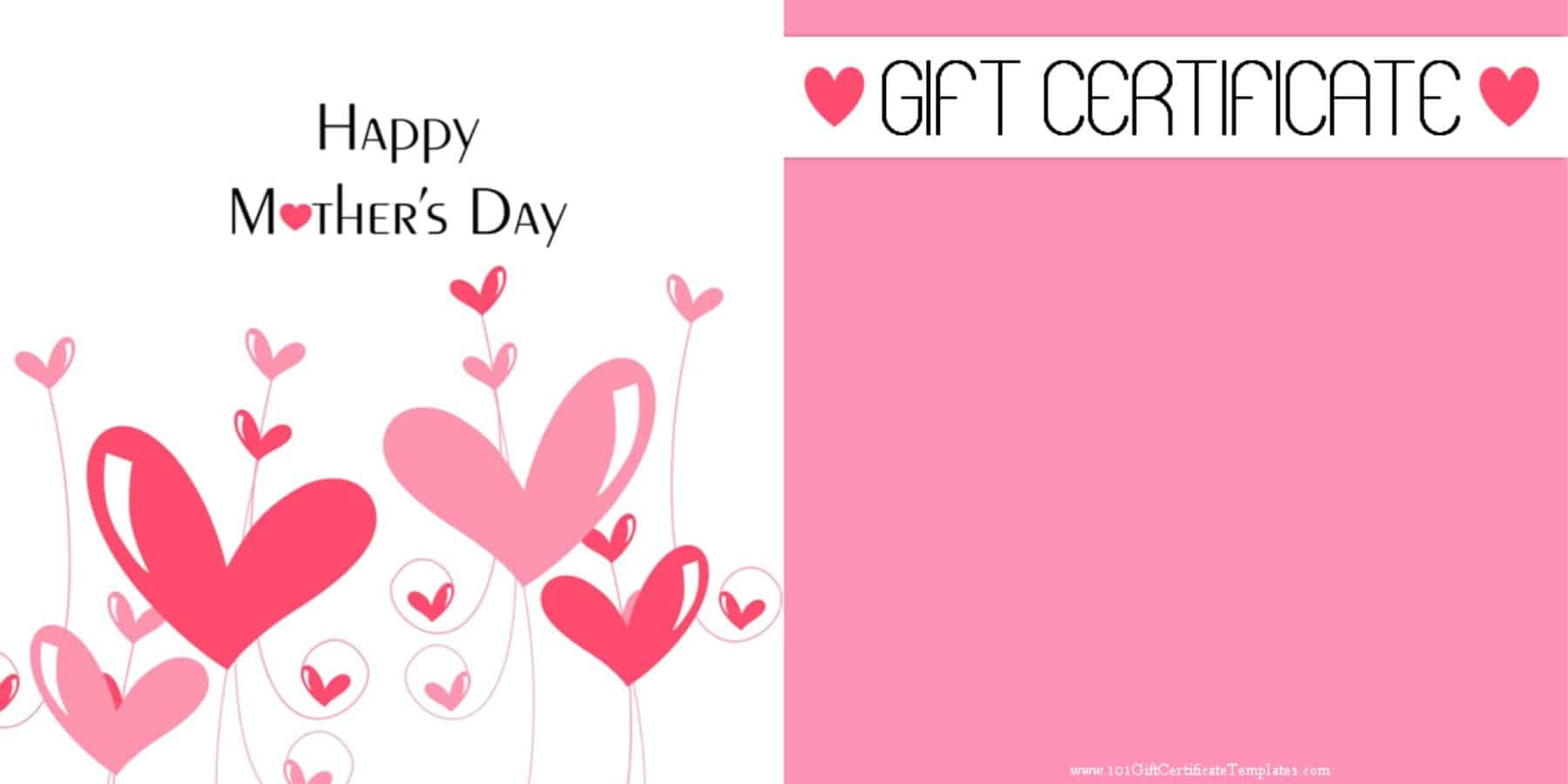 free gift card template - mother 39 s day gift certificate templates