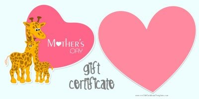 Free Printable Mothers Day Gift Certificate Template