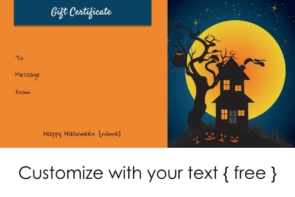 Halloween gift certificates halloween gift certificate template yelopaper Image collections