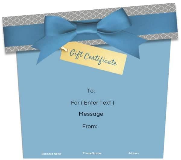 gift certificate in blue