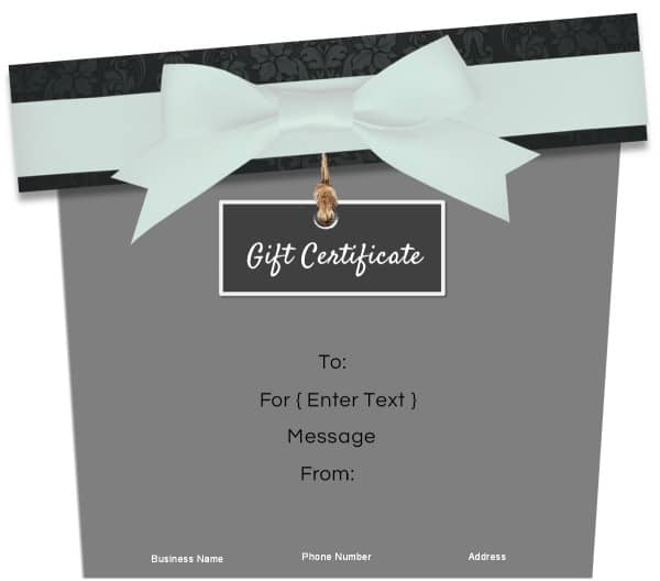 black, white and grey gift certificate template in the shape of a gift box