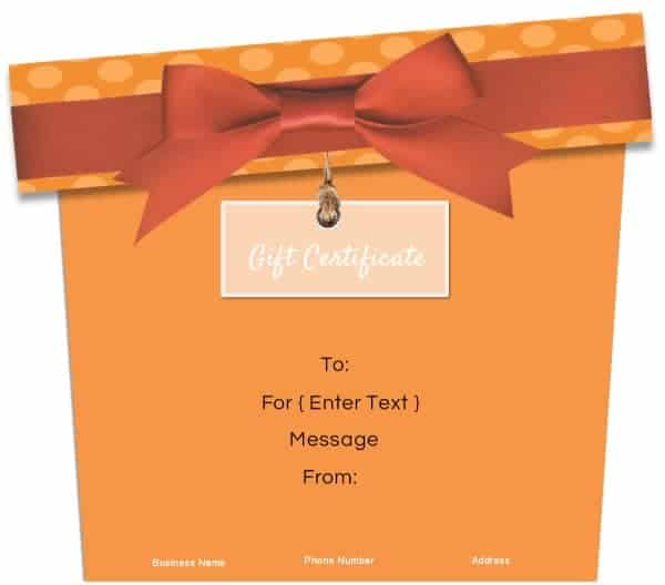 gift certificate template in the shape of a gift in orange
